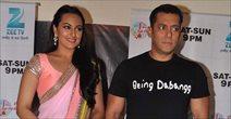 Salman and Sonakshi on the sets of Sa Re Ga Ma