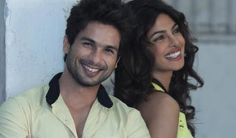 Shahid Kapoor & Priyanka Chopra at media interviews for their film Teri Meri Kahaani at Mehboob Stud