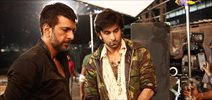 Ranbir and Javed Jaffrey snapped on the sets of Besharm