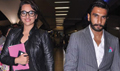 Ranveer Sonakshi Snapped At The Airport As They Return From Dubai Promotions Of Lootera