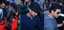 Starcast of 'Dhoom 3' mobbed at the movie promotion