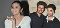 Alia, Arjun and Karan Johar at 2 states screening