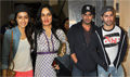Varun Dhawan, Arjun Kapoor and Shraddha Kapoor watch 'Bang Bang'
