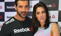 John And Nargis At Reebok Press Meet