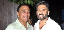 Sunil Shetty & Sunil Gavaskar snapped at Vardan Aashirwad's house party