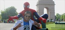 Vivek Oberoi snapped with Spider-Man at India Gate
