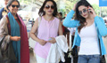 Shabana, Madhuri And Zarine Khan Snapped At Domestic Airport
