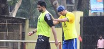 Ranbir Kapoor & Abhishek Bachchan snapped at Football practice session