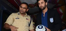 Ranbir Kapoor At Mumbai FC Event With Mumbai Traffic Police