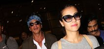 Shah Rukh Khan & Kajol arrive in Mumbai after finishing 'Dilwale' shoot in Bulgaria