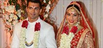 Bipasha Basu and Karan Singh Grover pose post Wedding rituals in Mumbai