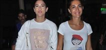 Bond girl Caterina snapped with Rajeev and Guauhar Khan at airport