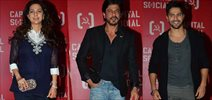 Shah Rukh Khan, Varun Dhawan, Juhi Chawla at Capital Social Launch