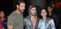 Varun, John and Jacqueline return from Dishoom promotions in Nagpur