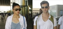 Hrithik Roshan and Alia Bhatt snapped at the airport today morning
