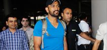 MS Dhoni snapped at the airport