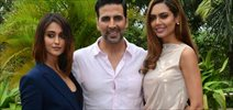 Akshay Kumar, Ileana DCruz & Esha Gupta at 'Rustom' media meet