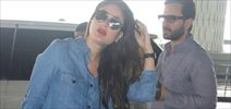 Saif Ali Khan & Kareena Kapoor Khan snapped at the international airport