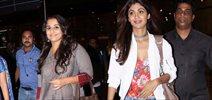 Shilpa Shetty and Vidya Balan snapped at the airport