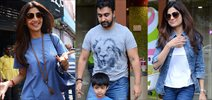 Shilpa Shetty and family snapped post brunch at Bastian