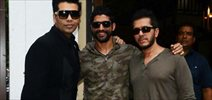 Karan Johar, Farhan Akhtar and Ritesh Sidhwani snapped at Baar Baar Dekho promotional shoot