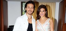 Flying Jatt promotions at Welingkars with Tiger and Jacqueline