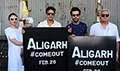 Cast of 'Aligarh' at the protest march with college students