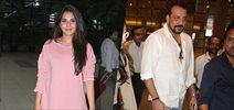 Sanjay Dutt and Richa Chadda snapped at domestic airport