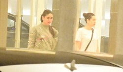 Kareena Kapoor Khan and Karisma Kapoor snapped at Karan Johar's house - Pictures