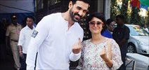 John Abraham, Kiran Rao, Prem Chopra and Priya Dutt cast their vote in Bandra
