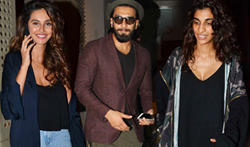 Ranveer SIngh, Anushka Manchanda and Anusha Dandekar snapped at OUT of the Blue - Pictures