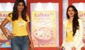 Shilpa Shetty and Pooja Makhija at the launch of 'Saffola Muesli'