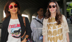 Shilpa Shetty and Neha Dhupia snapped at Airport - Pictures
