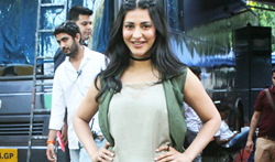 Shruti Hassan snapped post AD shoot in Filmcity - Pictures