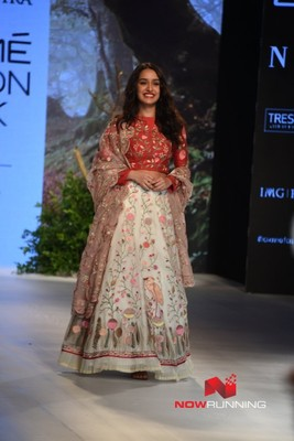 Walks the ramp for Rahul Mishra at Lakme Fashion Week 2017