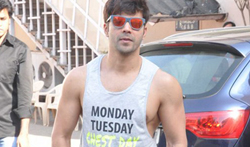 Varun Dhawan snapped at an AD shoot - Pictures