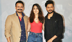 Vivek Oberoi, Ritiesh Deshmukh and Rhea Chakraborty snapped promoting the film 'Bank Chor' - Pictures