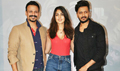 Vivek Oberoi, Ritiesh Deshmukh and Rhea Chakraborty snapped promoting the film 'Bank Chor'