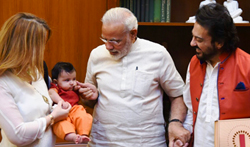 PM Modi warmly welcomes Adnan Sami's daughter Medina PMO Office - Pictures