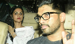 South Superstar Allu Arjun snapped with his wife post dinner at Khar Social - Pictures