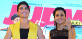 Varun Dhawan, Jacqueline Fernandez and Taapsee Pannu promote Judwaa 2 at the Habitat centre in Ghaziabad