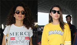 Kangana Ranaut and Parineeti Chopra snapped at the airport - Pictures