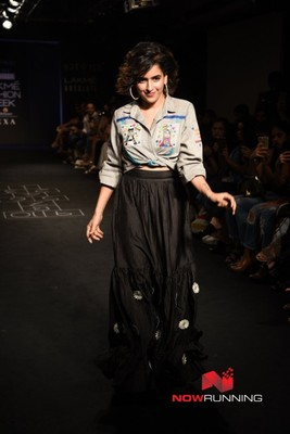 Walks the ramp for The Miraki Project at Lakme Fashion Week 2017