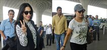 Preity Zinta and Karisma Kapoor snapped at the airport