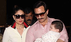 Saif Ali Khan and Kareena Kapoor Khan pose with Taimur as they depart for Switzerland - Pictures