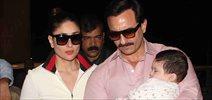 Saif Ali Khan and Kareena Kapoor Khan pose with Taimur as they depart for Switzerland