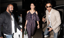 Sanjay Dutt, Anushka Sharma and Sidharth Malhotra snapped at the airport - Pictures