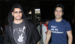 Sidharth Malhotra and Varun Dhawan snapped at the airport - Pictures