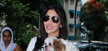 Sophie Choudary snapped outside The Kitchen Garden
