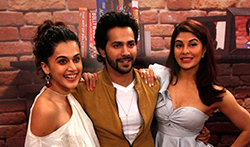 Varun Dhawan, Jacqueline Fernandez and Taapsee Pannu snapped promoting 'Judwaa 2' at Mehboob Studio - Pictures